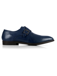Dark Blue Single Strap Monk Leather Shoes main shoe image