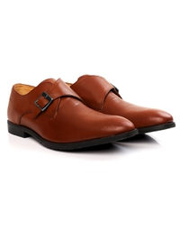 Tan Single Strap Monk Leather Shoes alternate shoe image