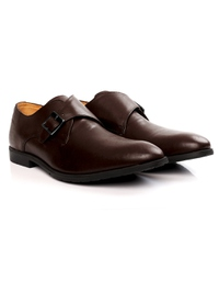 Brown Single Strap Monk Leather Shoes alternate shoe image