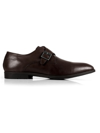 Brown Single Strap Monk Leather Shoes main shoe image