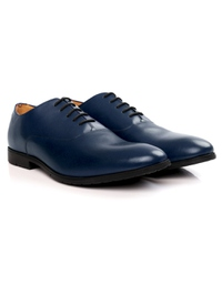 Dark Blue Plain Oxford Leather Shoes alternate shoe image
