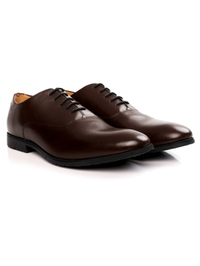 Brown Plain Oxford Leather Shoes alternate shoe image