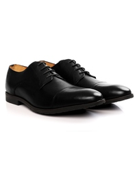 Black Toecap Derby Leather Shoes alternate shoe image