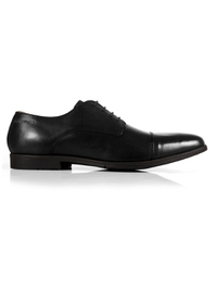 Black Toecap Derby Leather Shoes shoe image