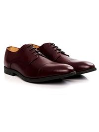Burgundy Toecap Derby Leather Shoes alternate shoe image