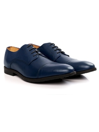 Dark Blue Toecap Derby Leather Shoes alternate shoe image