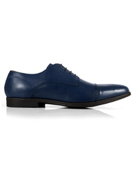 Dark Blue Toecap Derby Leather Shoes shoe image