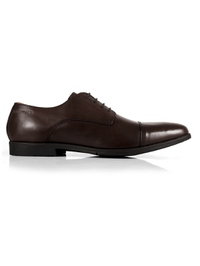Brown Toecap Derby Leather Shoes shoe image