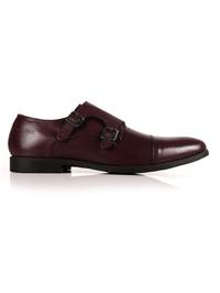 Burgundy Double Strap Toecap Monk Leather Shoes shoe image