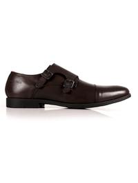 Brown Double Strap Toecap Monk Leather Shoes shoe image