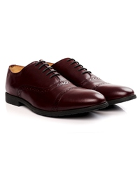 Burgundy Quarter Brogue Oxford Leather Shoes alternate shoe image