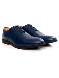 Dark Blue Quarter Brogue Oxford Leather Shoes alternate shoe image