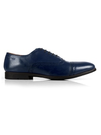 Dark Blue Quarter Brogue Oxford Leather Shoes main shoe image