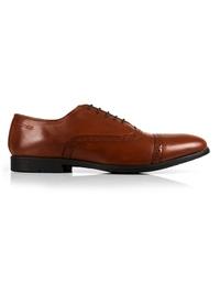 Tan Quarter Brogue Oxford Leather Shoes shoe image