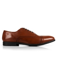 Tan Quarter Brogue Oxford Leather Shoes main shoe image