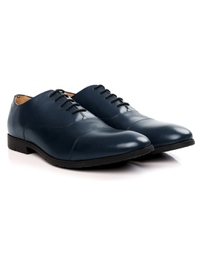 Dark Blue Toecap Oxford Leather Shoes alternate shoe image