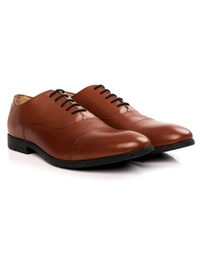 Tan Toecap Oxford Leather Shoes alternate shoe image