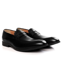 Black Apron Halfstrap Slipon Leather Shoes alternate shoe image