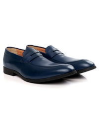 Dark Blue Apron Halfstrap Slipon Leather Shoes alternate shoe image