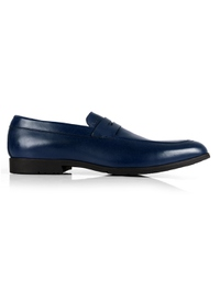 Dark Blue Apron Halfstrap Slipon Leather Shoes main shoe image