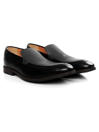 Black and Gray Plain Apron Slipon Leather Shoes alternate shoe image