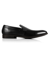 Black and Gray Plain Apron Slipon Leather Shoes main shoe image