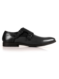 Black and Gray Double Strap Monk Leather Shoes main shoe image