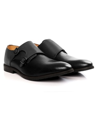 Gray and Black Double Strap Monk Leather Shoes alternate shoe image