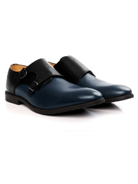 Black and Dark Blue Double Strap Monk Leather Shoes alternate shoe image