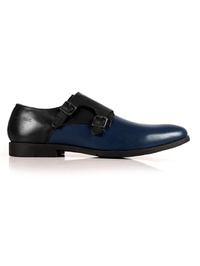 Black and Dark Blue Double Strap Monk Leather Shoes main shoe image