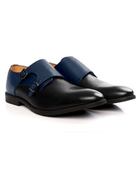 Dark Blue and Black Double Strap Monk Leather Shoes alternate shoe image