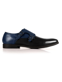 Dark Blue and Black Double Strap Monk Leather Shoes main shoe image