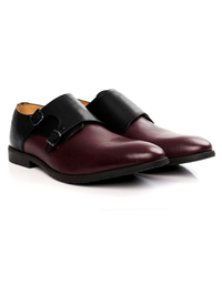 Black and Burgundy Double Strap Monk Leather Shoes alternate shoe image