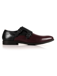 Black and Burgundy Double Strap Monk Leather Shoes main shoe image