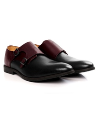 Burgundy and Black Double Strap Monk Leather Shoes alternate shoe image