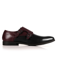 Burgundy and Black Double Strap Monk main shoe image