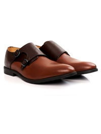 Brown and Tan Double Strap Monk Leather Shoes alternate shoe image