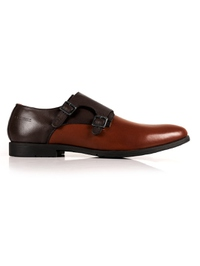 Brown and Tan Double Strap Monk Leather Shoes main shoe image