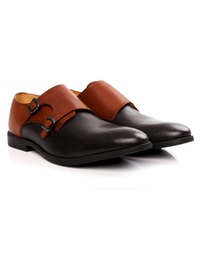 Tan and Brown Double Strap Monk Leather Shoes alternate shoe image