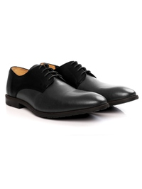 Black and Gray Plain Derby Leather Shoes alternate shoe image