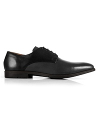 Black and Gray Plain Derby Leather Shoes main shoe image