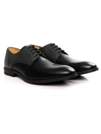 Gray and Black Plain Derby Leather Shoes alternate shoe image