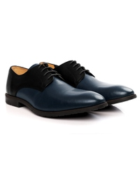 Black and Dark Blue Plain Derby Leather Shoes alternate shoe image