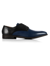 Black and Dark Blue Plain Derby Leather Shoes main shoe image