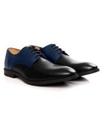 Dark Blue and Black Plain Derby Leather Shoes alternate shoe image