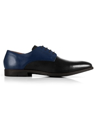 Dark Blue and Black Plain Derby main shoe image