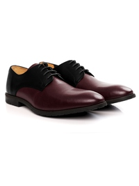 Black and Burgundy Plain Derby Leather Shoes alternate shoe image