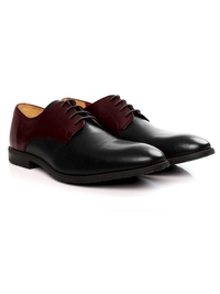 Burgundy and Black Plain Derby Leather Shoes alternate shoe image