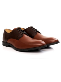 Brown and Tan Plain Derby Leather Shoes alternate shoe image