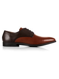 Brown and Tan Plain Derby Leather Shoes main shoe image